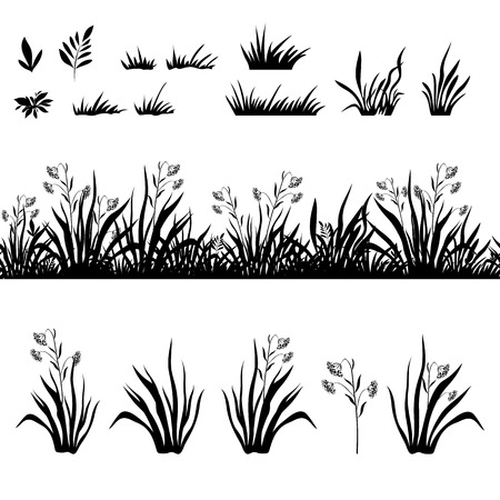 black and white forest: Seamless and set of grass and flowers, black silhouette isolated on white background. Vector Illustration