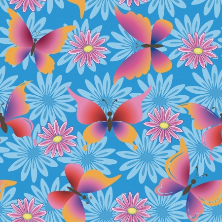 Seamless pattern, colorful flowers and butterflies on blue background. Vector Vector
