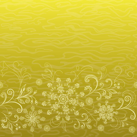 yellow flower: Abstract floral seamless pattern, symbolical outline golden flowers. Vector Illustration