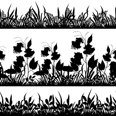 Set seamless of flowers and grass, black silhouette isolated on white background. Vector Vector