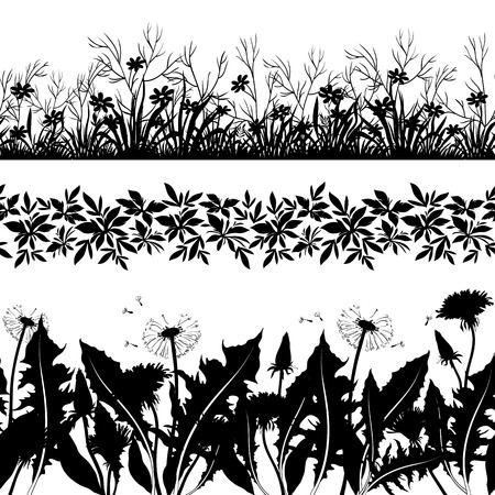 grass silhouette: Set seamless of flowers and grass, black silhouette isolated on white background  Vector
