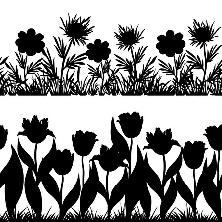Set seamless of flowers and grass, black silhouette isolated on white background  Vector Vector