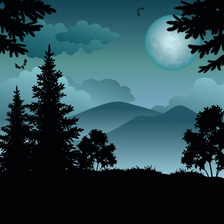 pine tree silhouette: Night landscape: trees, moon, mountains and bats.  Illustration
