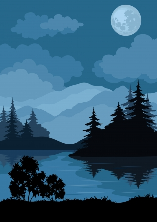 Night landscape: mountains lake, trees and moon.