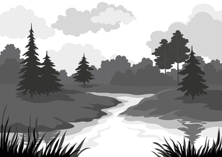 Landscape, trees and river, black and grey silhouette contour on white background. Vector
