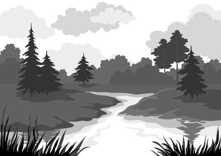 coniferous forest: Paisaje, �rboles y el r�o, silueta contorno negro y gris sobre fondo blanco. Vector Vectores