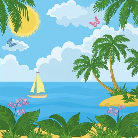 carribean: Paisaje: Isla del mar tropical con palmeras y flores, barco, cielo con sol y nubes. Vector