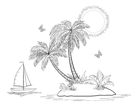 Ship, sun, tropical sea island with palm trees, flowers and butterflies, black contours isolated on white background. Vector Vector