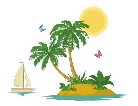 Ship, sun, tropical sea island with palm trees, flowers and butterflies, isolated on white background. Vector Vector
