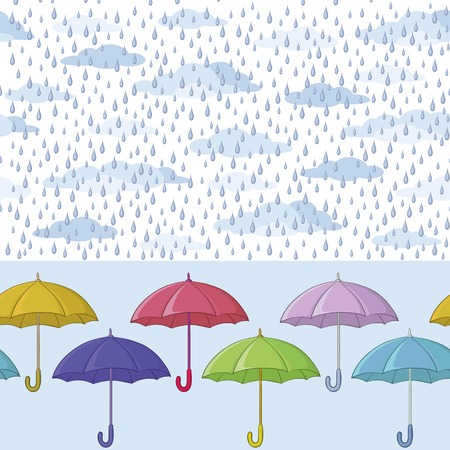 Seamless background, colorful umbrellas, clouds and blue rain drops. Vector Vector