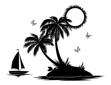 Ship, sun, tropical sea island with palm trees and butterflies, black silhouettes and contours isolated on white background. Vector Ilustração