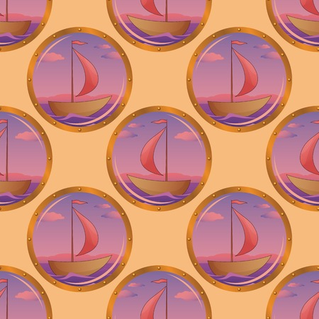 portholes: Seamless background, portholes with the ships floating on the sea. Vector