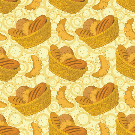 appetite: Seamless background: food, tasty fresh bread, loafs and buns in a wattled basket. Vector Illustration