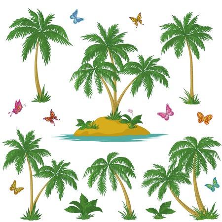 Tropische set: zee eiland met planten, palmbomen, bloemen en vlinders. Vector