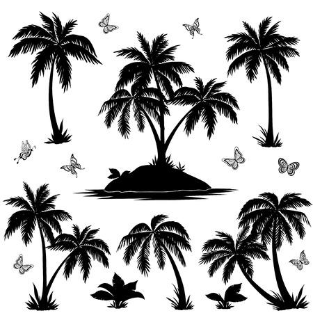 tropical plant: Conjunto tropical: isla del mar con plantas, palmeras, flores y mariposas, siluetas negras sobre fondo blanco. Vector