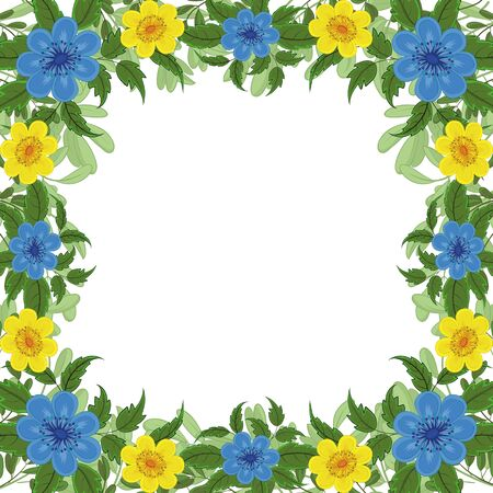 Floral pattern, frame of flowers and green leafs isolated on white background. Eps10, contains transparencies. Vector Vector