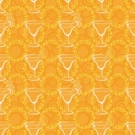 oranges: Seamless, glasses with a drink, white silhouettes on orange background with circles. Vector