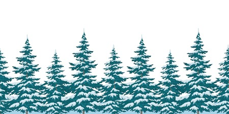 Seamless background, Christmas holiday trees with snow, isolated on white. Vector
