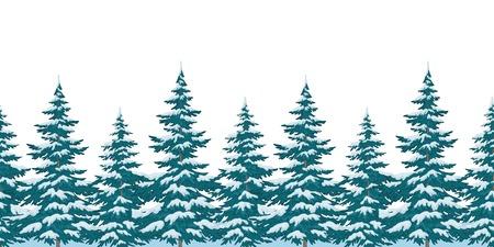 coniferous forest: Sin problemas de fondo, los árboles de Navidad de Navidad con nieve, aislado en blanco. Vector