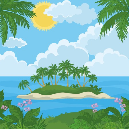coconut water: Tropical landscape, sea island with palm trees, flowers and sky with clouds and sun. Vector Illustration
