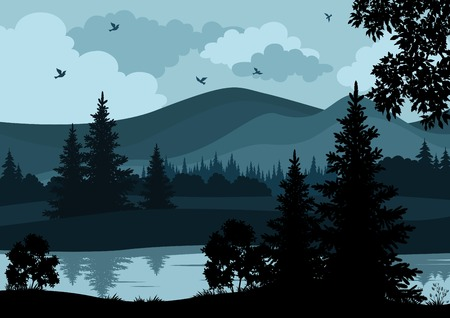 Night landscape, mountains, river, trees and birds, silhouettes. Vector