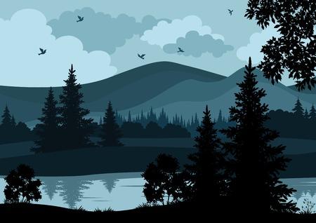 밤 풍경, 산, 강, 나무와 새, 실루엣. 벡터