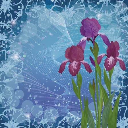 Flowers iris on abstract floral , picture for holiday design.  Vector