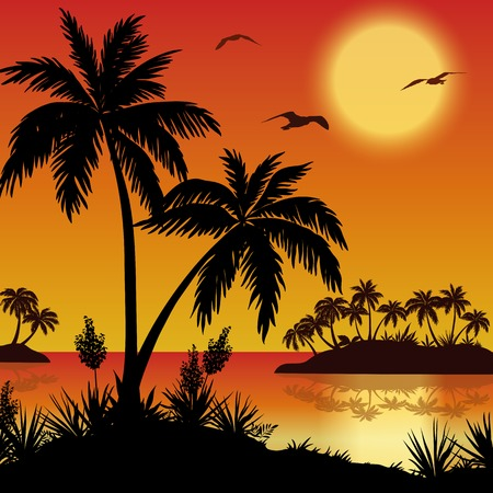 Tropical landscape, sea islands with palm trees, flowers, sun and birds gulls, black silhouettes on red  Vector