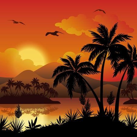 paesaggio mare: Paesaggio tropicale, le isole del mare con palme, fiori, montagna, nuvole, sole e gli uccelli gabbiani, sagome nere su rosso - sfondo giallo. Eps10, contiene lucidi. Vettore