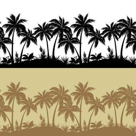 Las palmeras, las flores y la hierba, aislado de siluetas negras y marrones, sin fisuras patrón. Vector Vectores