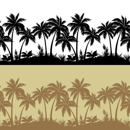 Palm trees, flowers and grass, black and brown isolated silhouettes, seamless pattern. Vector Illustration