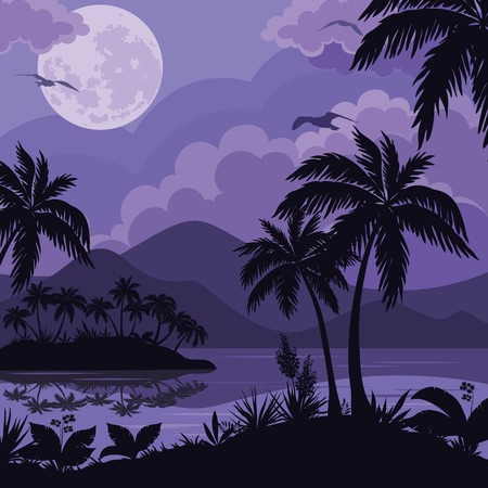 Exotic tropical night landscape with moonlit sky, sea islands with palm trees and flowers silhouettes. Element of this image furnished by NASA (www.visibleearth.nasa.gov). Vector