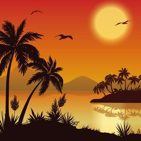 paesaggio mare: Paesaggio tropicale, le isole del mare con palme e fiori, montagna, sole e gli uccelli gabbiani, sagome nere su rosso - sfondo giallo. Eps10, contiene lucidi. Vettore