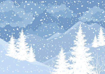 Winter mountain landscape with fir trees and snow, white and blue silhouettes. photo