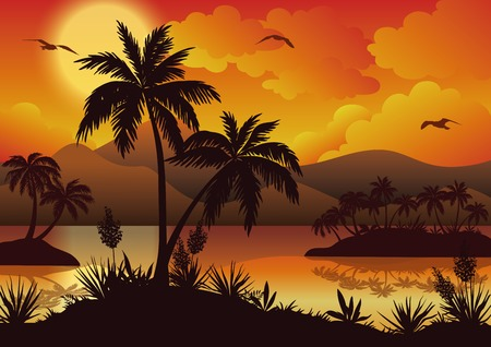 Tropical landscape, sea islands with palm trees, flowers, mountain, clouds, sun and birds gulls, black silhouettes on red  Vector