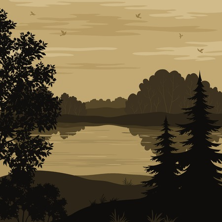 river vector: Evening landscape, trees, river and birds silhouette. Vector Illustration