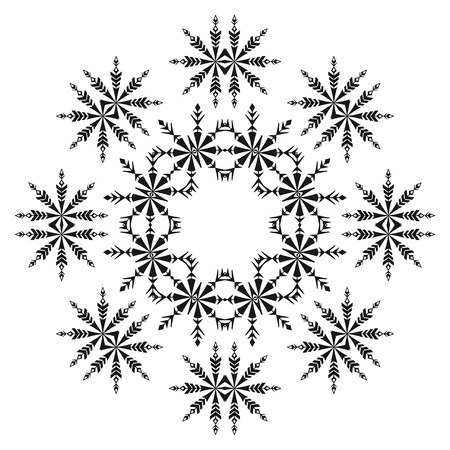 symmetric: Abstract pattern of snowflakes, black contours isolated on white background. Vector