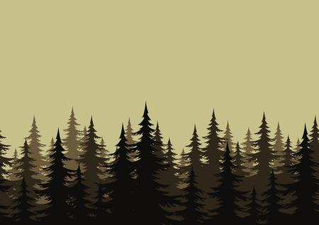jungle green: Sin problemas de fondo, paisaje, bosque de noche con �rboles de abeto siluetas. Vector