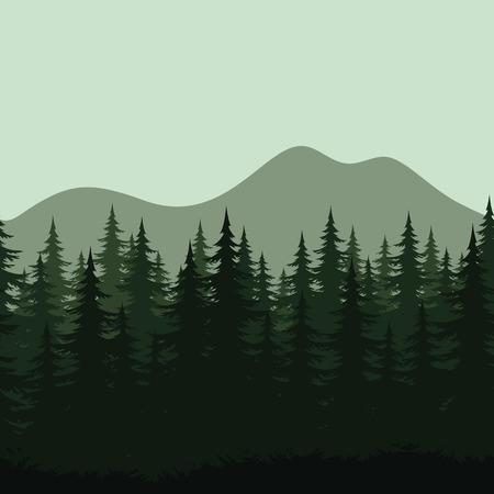 coniferous forest: Sin problemas de fondo el paisaje de montaña Vectores