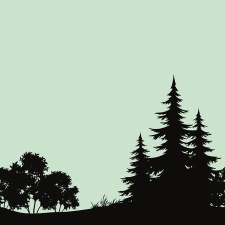 forest with fir trees and bush silhouettes Çizim
