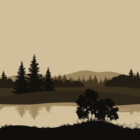 mountains, river and trees silhouettes Vector