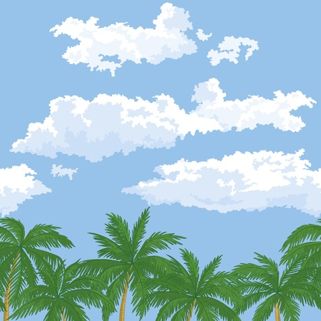 Exotic background, landscape, green palm trees leaves and sky with clouds  Vector