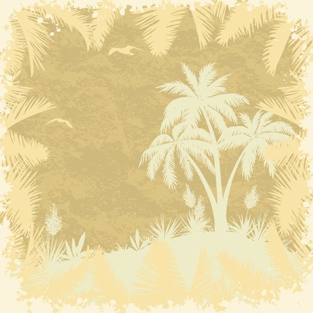 Tropical palms, yucca flowers, seagulls and frame of leaves silhouettes on a grungy background.  Vector
