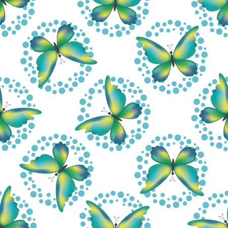 シームレスな背景、象徴的なカラフルな蝶と白で隔離されるリングのパターン。