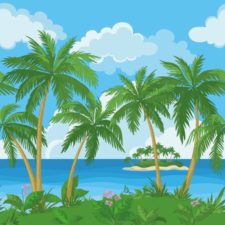 frond: Exotic seamless background, tropical landscape, sea island with green palm trees and flowers and cloudy sky.