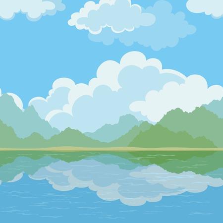 paesaggio mare: Esotici senza sfondo, paesaggio, mare, montagne e cielo nuvoloso.
