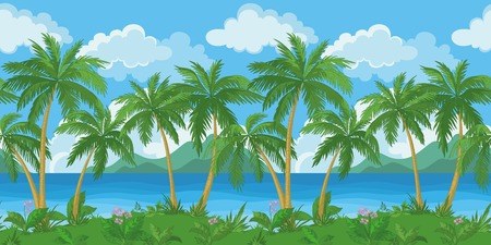 mountain view: Exotic seamless background, tropical landscape, sea island with green palm trees and flowers and cloudy sky. Vecto Illustration