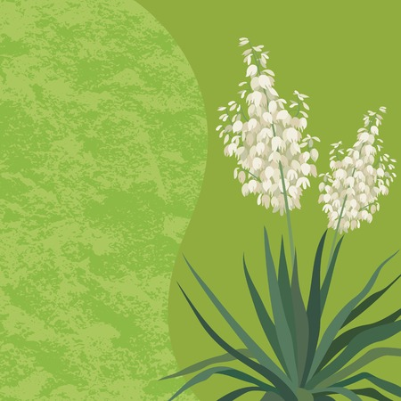 yucca: Floral background with Yucca flowers and leaves and abstract pattern. Vector Illustration