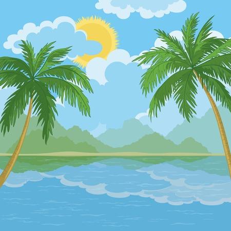 carribean: Paisaje tropical, palmeras, isla del mar y el cielo con nubes y sol. Vector