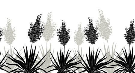 yucca: Horizontal seamless of flowers and plants Yucca, black silhouette isolated on white background. Vector Illustration